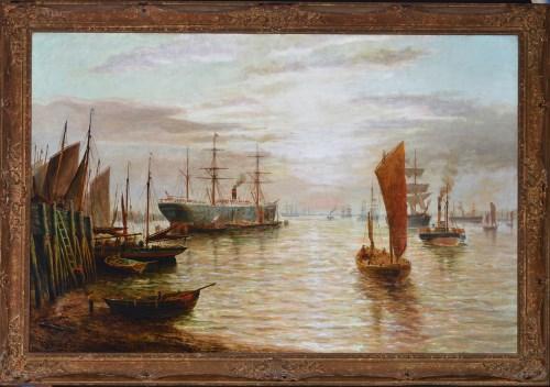 Lot 122-Bernard Benedict Hemy (1845-1913) Fishing boats...