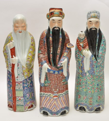 Lot 162-Three large Chinese famille rose figures of...