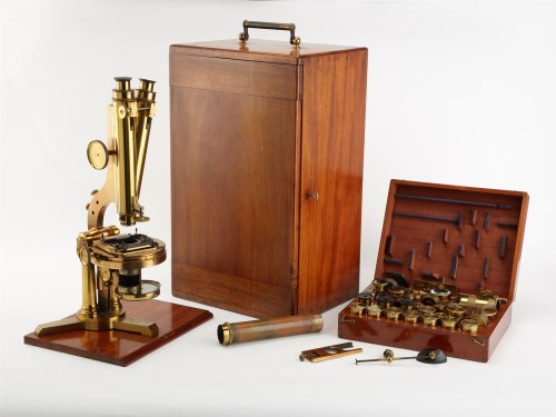 Lot 454-A Victorian lacquered brass binocular microscope, ...