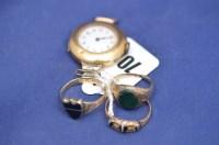 Lot 700 - An 18ct. yellow gold lady's wristwatch, white...