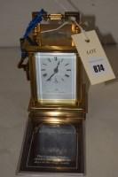 Lot 874 - A brass carriage clock by Matthew Norman,...