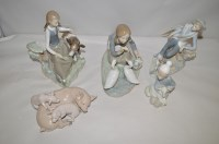 Lot 1052 - Lladro figures fo farmyard scenes, to include:...