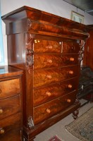 Lot 1406 - A Victorian flame mahogany Scotch chest of two...