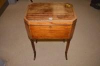 Lot 1466 - A Georgian mahogany inlaid box on stand,...