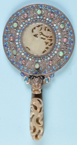 Lot 193-A Chinese carved jade, enamel decorated white...