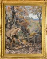Lot 50 - Ralph Hedley, RBA (1848-1913) ''AUTUMN LEAVES''...