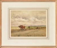 Lot 82 - John Atkinson (1863-1924) A HORSE DRAWN HARROW...