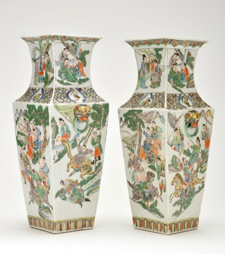 Lot 400-Pair of Chinese Famille Verte vases, of square...