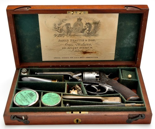 Lot 460-A cased 54 bore five shot Tranter patent...