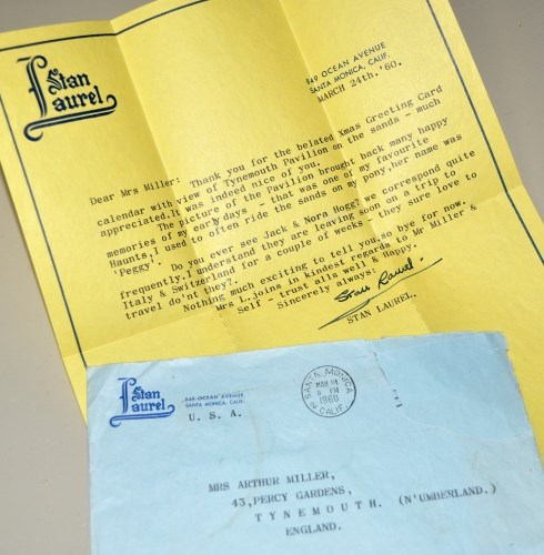 Lot 503-Stan Laurel: a signed letter from Stan Laurel to...