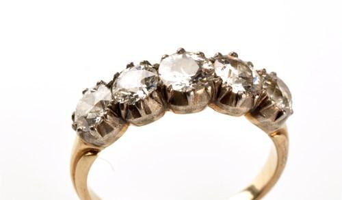 Lot 754-A late 19th Century five stone diamond ring,...