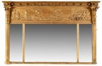Lot 911-A Regency gilt gesso triptych overmantel mirror,...