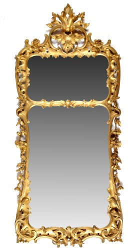 Lot 966-A George III giltwood pier glass, with twin...
